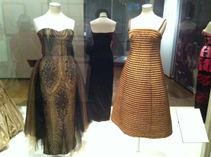 1951 Vita Noberasco silk and metal thread lace evening gown and Carosa quilted cocktail dress