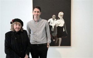 Rosalyn Drexler, Alistair Sooke and Rosalyn's painting Marilyn Pursued by Death