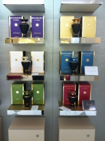 Perfumes line the walls of the Salon as if they were works of art. This is Bulgar's Le Gemme Collection.