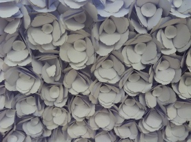 A close-up of the textural floral wall of the Christian Dior boutique
