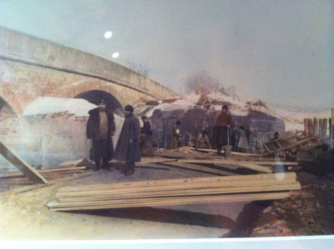 Dmitry Yezuchevsky, Bridge Construction, 1880-1890s, Silver gelatin print, painted