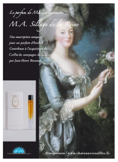 "MA Sillage de la Reine, Francis Kurkdjian. While doing research on Jean-Louis Fargeon, parfumeur to Marie-Antoinette, biographer Elisabeth de Fevreau unearthed notes on the queen's personal perfume. Originally named "" Le Trianon,"" the perfume once used by the queen combines various scents including rose, iris, jasmine, orange blossom and sandalwood. The scent which was renamed ""M.A. Sillage de la Reine"" was developed by French perfumer Francis Kurkdjian, who combined the ingredients after detailed research. He adhered strictly to the 18th-Century custom of combining ""100% natural primary materials"" and the scent is ""intensely floral"". It should be no surprise to anyone that since its launch in 2006, MA Sillage de la Reine is no longer available from Versailles."