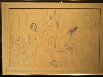 Marcel Vertés Painting a Portrait of Lauren Bacall, Marcel Vertés