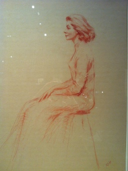 Portrait of Lauren Bacall, seated in profile, Aaron Shikler