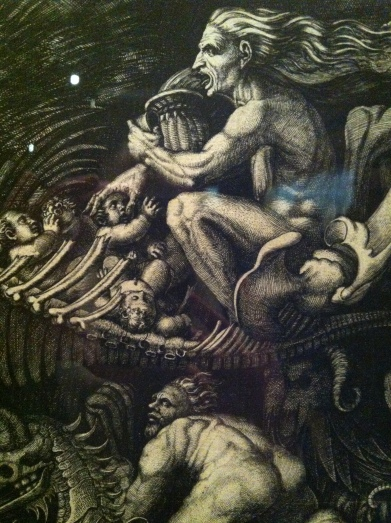 Detail from The Witches' Rout (The Carcass), Agostino Veneziano, c.1520
