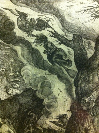 Detail from Preparation for the Witches' Sabbath, after Jacques de Gheyn, engraved by Andries Jacobsz Stock, c. 1610