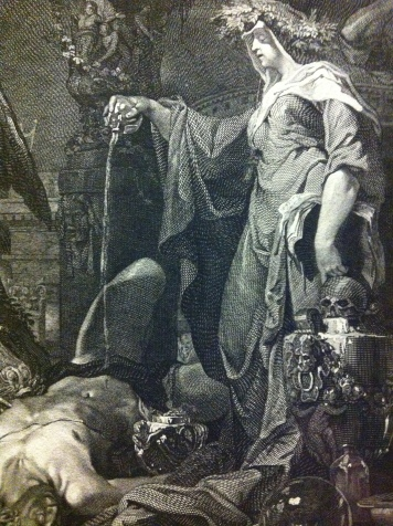 Detail from Enchantress Raising the Dead, after Domenicus van Wijnen called Ascanius; engraved by Johann veit Kauperz, 1769