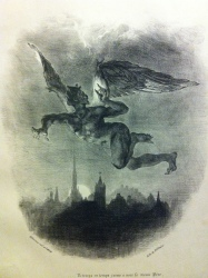 Mephistopheles Flying over the City, Eugene Delacroix, 1828