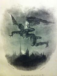 Mephistopheles Flying over the City, Eugene Delacroix, 1828