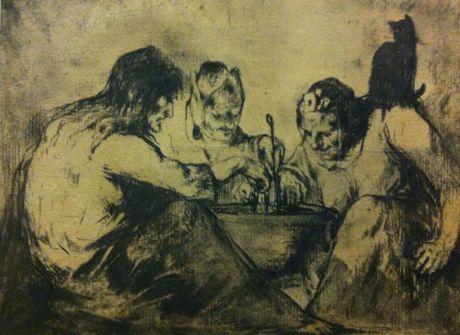 Three Witches around a Cauldron, Théodule-Augustin Ribot