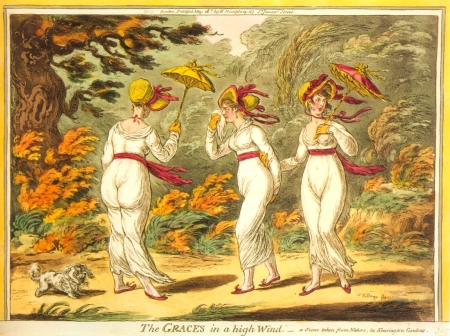 Graces in a High Wind, James Gillray 1810